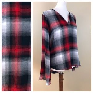 Cloth and Stone Plaid Red Black Long Sleeve Top M